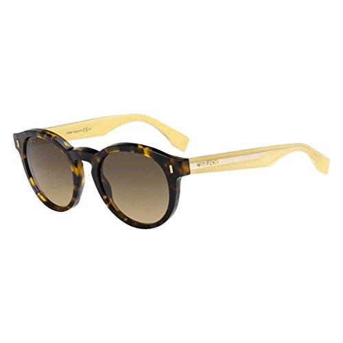 (Fendi 0085 HJV Havana Brown Yellow 0085S Round Sunglasses Lens Category)
