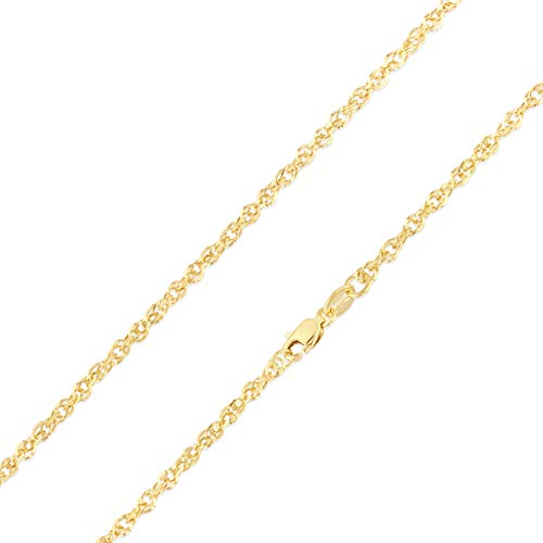 (Ioka - 14K Yellow Gold 2.2mm Double Link Hollow Rope Chain Necklace with Lobster Clasp - 18