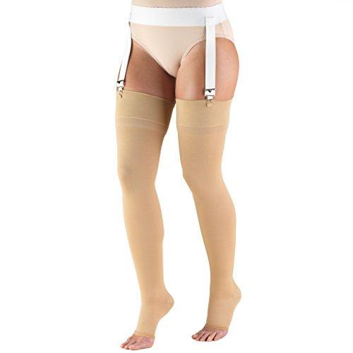 (Truform 20-30 mmHg Compression Stockings for Men and Women, Thigh High Length, Open Toe, Beige, Medium (20-30 mmHg))