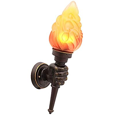 Rishx Fire Shape Wall Sconces Light Outdoor Fence Garden Landscape Lamp Creative Torch Wall-Mounted Lighting Quality Aluminum Night Safety Courtyard Lantern