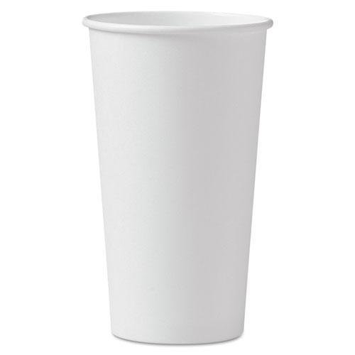 SOLO. Cup Company Polycoated Hot Paper Cups, 20 oz, White, 600/Carton (420W)