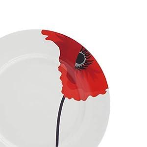 Amazon Basics 18-Piece Kitchen Dinnerware Set, Plates, Dishes, Bowls, Service for 6, Poppy