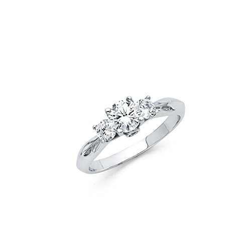 Knife Edge Solitaire Setting - Sonia Jewels 925 Sterling Silver Knife Edge Trellis 3 Stone Round CZ Cubic Zirconia Engagement Ring Size 5