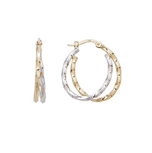 14K Gold Yellow & White 25MM Oval Twist Hoop Earring