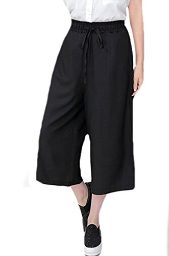 MLG Womens Chiffon Loose Wide Leg Capri Casual All-match Pants Black Large