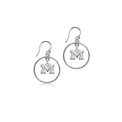 (University of Michigan Wolverines Sterling Silver Jewelry by Dayna Designs (Open Drop)