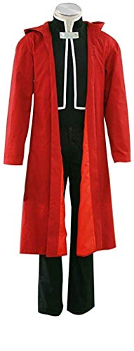 USEN Fullmetal Alchemist Halloween Costume Edward Elric Red Cape Cosplay Full Set Suit ()