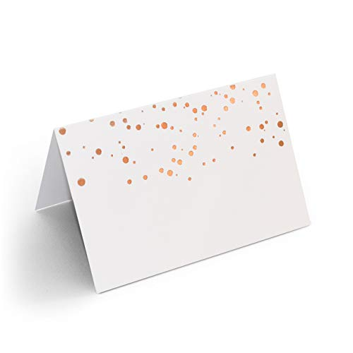 AZAZA 50 Pcs Place Cards with Rose Gold Foil Dots - Textured Table Tent Cards Seating Place Cards for Weddings Banquets Dinner Parties 2.5