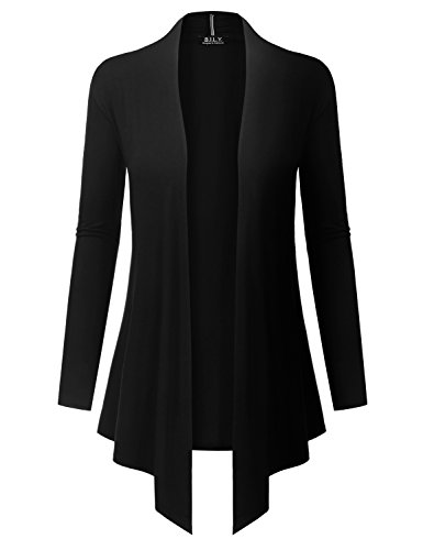 BH B.I.L.Y USA Women's Open Front Drape Hem Lightweight Cardigan with Pockets Black X-Large (Long Sleeve Cardigan For Juniors)