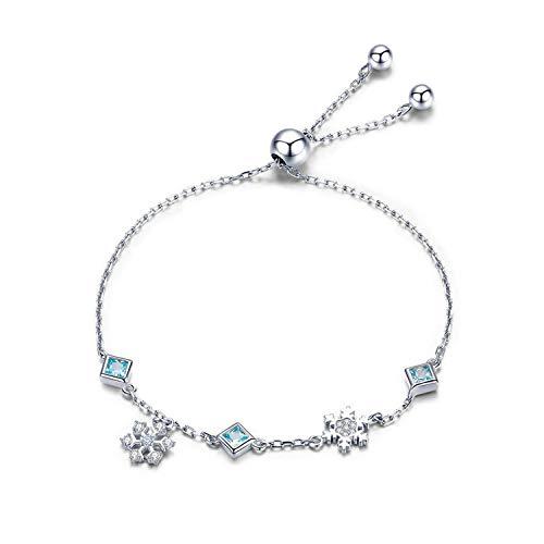 CNE2ES BAMOER Collection 925 Sterling Silver Winter Snowflake Women Bracelets Chain Link Bracelet Sterling Silver Jewelry