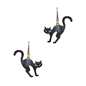 Wonderent Halloween Cute Black Cat Metal Dangle Earrings
