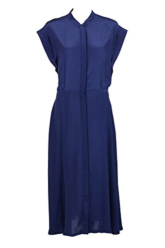 Innamorato Womens Indigo Button Front Short Sleeve Silk Dress 40