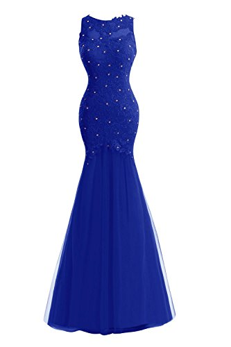 Formal Women's Lace Bess Prom Bridal Mermaid Beaded Blue Tulle Royal Evening Dresses YqgB5R