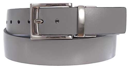 PGA TOUR Men's Reversible Leather Belt with Pull and Twist Silver Buckle (Grey, Black, 42)