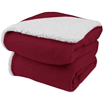 Biddeford Comfort Knit Electric Heated Throw Blanket with Natural Sherpa Brick Red