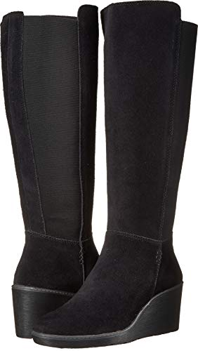 CLARKS Women's Hazen Madison Fashion Boot, Black Suede, 080
