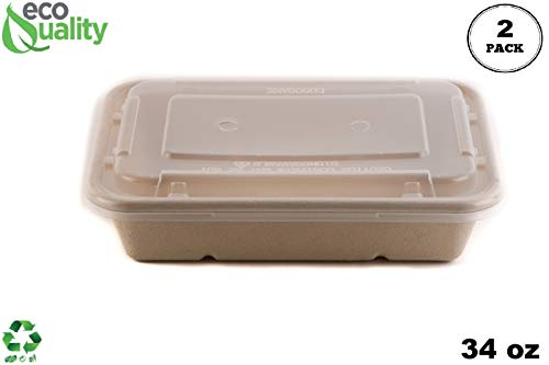 [2 Pack of 25] 34oz Compostable Eco Friendly Container Trays with Lids - Rectangular Oblong Tree Free Sugarcane Bagasse Meal Prep Bento Boxes Take Out Catering Microwavable Deep Container