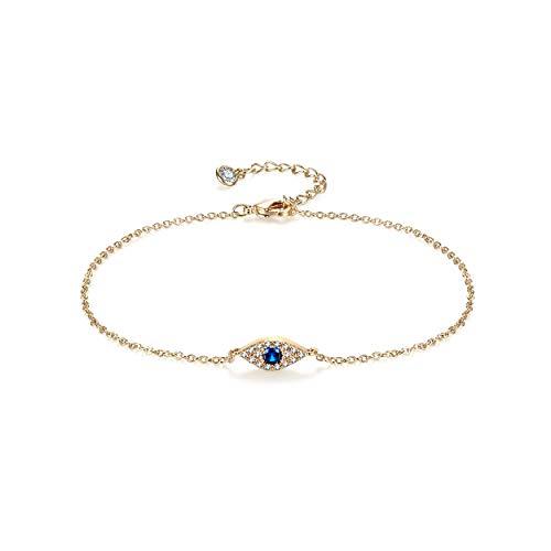 Dainty Evil Eye Anklet,14K Gold Plated Evil Eye Ankle Bracelet,Blue CZ Evil Eye Anklets for Women