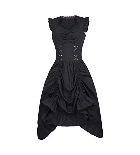 (Women Sleeveless V-Neck Lace-Up Ruffle Dress Retro Vintage Black Punk Gothic Dress,Black Gothic Dress 1,S)
