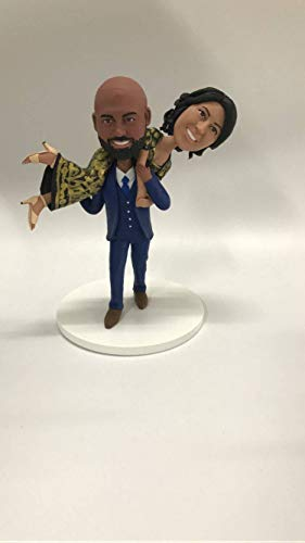 Indian Bride Indian Groom Indian Personalized Wedding Cake Topper Custom Indian Bobble Head Indian Wedding Cake Topper Personalized Indian (Custom Bobble 2 Head)