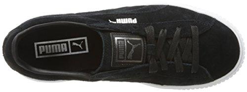 Puma Women's Suede Platform Core Fashion Sneaker, Whisper White Black, B(M) US Puma Black/Puma White
