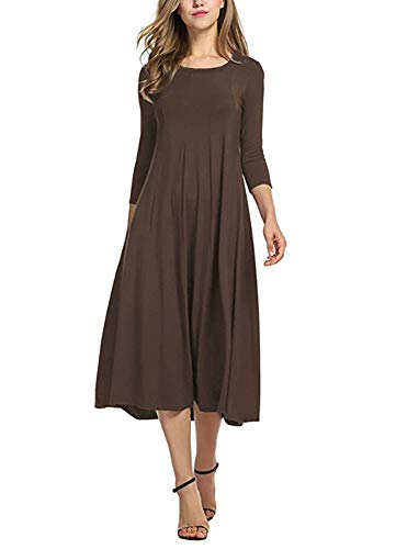 Ladybranch Women's 3/4 Sleeves Solid Color Casual Long Dress A-Line Loose Pleated Midi Dress (Small, Coffee)