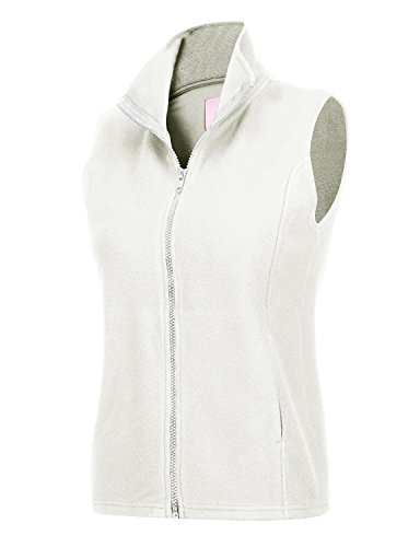 Regna X Women's Thick Plaid Slim fit Full Zip up Fleece Vest Jacket White M (White Fleece Plaid)