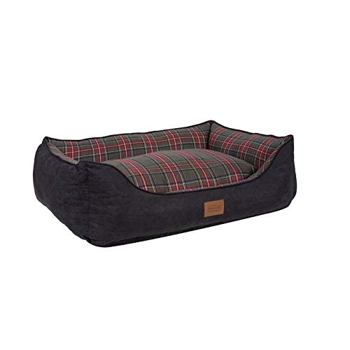 Plaid Cute Red Gray Orthopedic Extra Large Dog Bed, Luxury Bolster Faux Suede Rectangle,Cushion Top Memory Foam Waterproof Liner Lofted Zippable Nester Paw Cool Pet Modern Warm 48in Kennel Multi