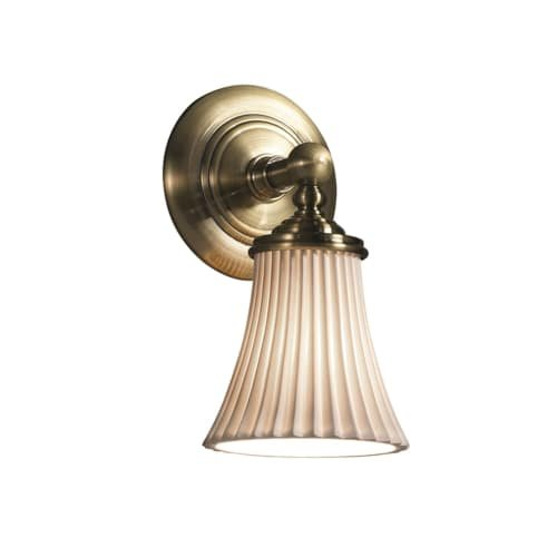 Porcelain Brass Sconce (Justice Design Group Limoges 1-Light Wall Sconce - Antique Brass Finish with Pleats Translucent Porcelain Shade)