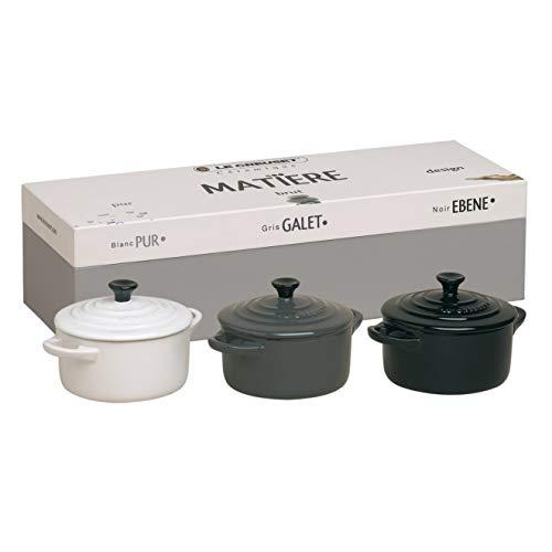Le Creuset Les Céramiques 91016300173000 Mini Casserole Dishes Set of 3 Round 10 cm Ebony Black / Pebble Grey...