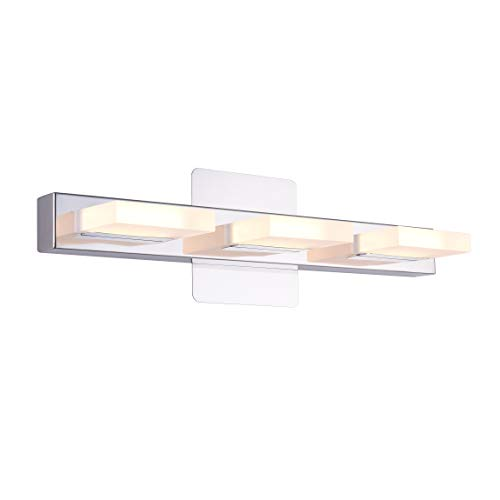 mirrea 18in Modern LED Vanity Light in 3 Lights Stainless Steel and Acrylic 16w Warm White 3000K