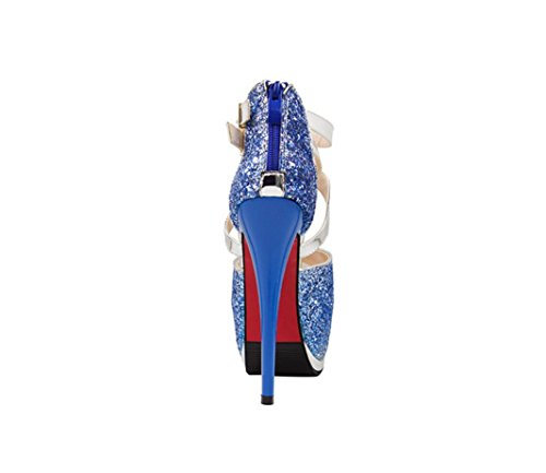 HYLM Talones femeninos de los altos talones de los altos talones impermeables de los cabritos del club nocturno de la tabla de los pescados que casan los zapatos de vestido de los zapatos Random delivery