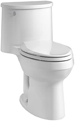 KOHLER K-3946-0 Adair Comfort Height One-Piece Elongated 1.28 GPF Toilet with Aqua Piston Flush Technology and Left-Hand Trip Lever, White