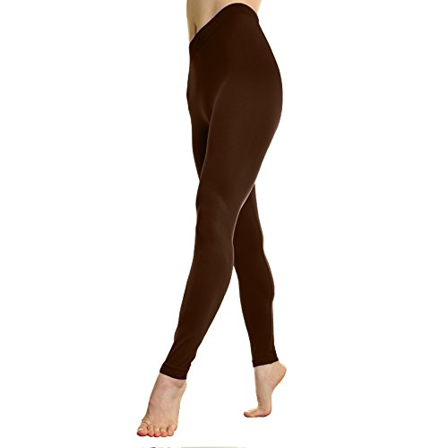 Brown Footless Tights (Angelina Full-Length Seamless Leggings, Brown One Size)