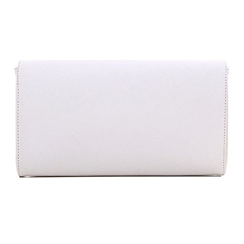 Large Ladies Leather Prom Clutch Shoulder Envelope White Womens Handbag Bag Evening Wedding qXw1Ud