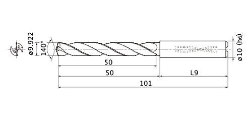 9.922 mm Cutting Dia 10 mm Shank Dia. 3 mm Hole Depth Mitsubishi Materials MMS0992X3D100MMS Series Solid Carbide Drill 1.8 mm Point Length Internal Coolant