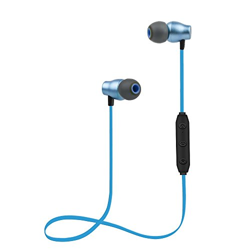 Bluetooth Headphones Sports Wireless Earbuds Sweatproof Headset Magnetic Attraction Stereo Earphones for Running Workout Gym Noise Cancelling SAN.COMO (X5-Blue)