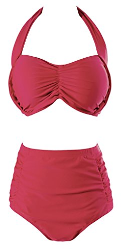 [Wantdo Women's Sandy Beach Wear Dress Swimming Costume Over Size Swimsuit Red US12-14] (Swimming Costume For Womens)