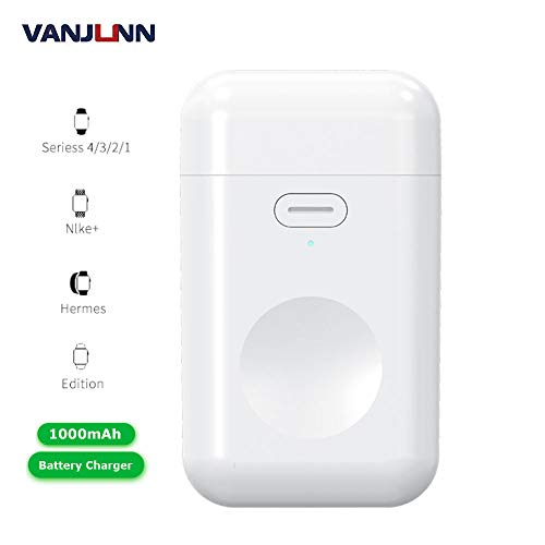 Portable Wireless Battery Charger for Apple Watch, VANJUNN 1000mAh Magnetic Mini Power Bank with USB Port for Traveling Compatible with Apple Watch Series 4/3/2/1/ Nike+ (Quick Charge)