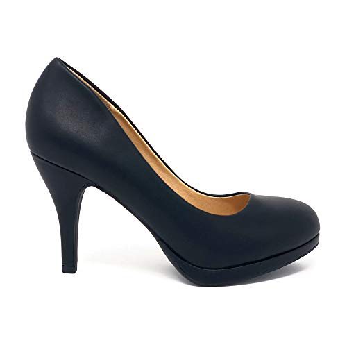 Topshoeave Jack Round Toe Extra Cushioned Comfort Classic Dress Work Pumps (8.5 M US, Black PU New)
