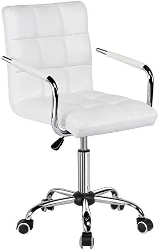 Topeakmart Modern Rolling White Desk Chair with Armrests Wheels Heavy Duty Base SGS-Certified Gaslift Cylinder Comfortable Computer Chair, 265lb Load Capacity