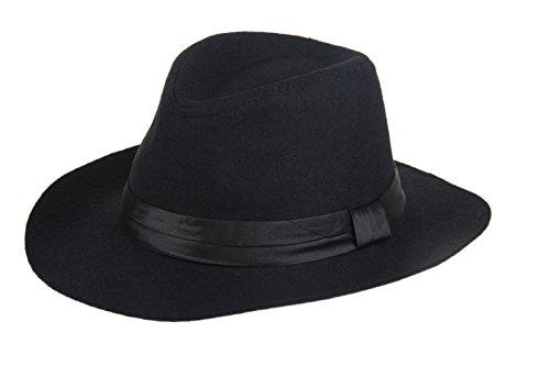 Black Fedora Hat For Kids (MOMOCHAO Fashion autumn winter superstar boys JAZZ fedoras hat wool felt cap wide brim chapeu fedora hat for kids)