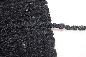 1 Yard Black GIMP Sequin Sequins Rosebud Sewing Doll Craft Trim 1/4