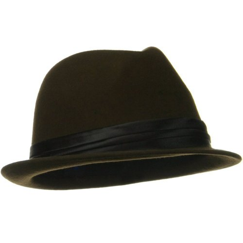 [100% Wool Chocolate Brown Fedora With Dark Brown Silky Band] (Ganster Hat)