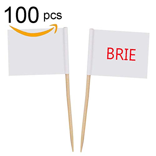 Zehhe Mini Blank White Flag 100Pcs Paper Food Picks Dinner Cake Toothpicks Cupcake Decoration Fruit Cocktail Sticks Party Supplies - Cupcake Decorating Picks