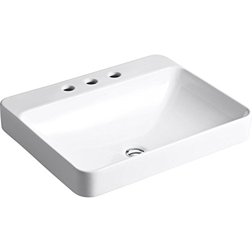 Kohler K-2660-8-0 Vox Rectangle Vessel with Faucet Deck, White Rectangular Vessel Lavatory Sink