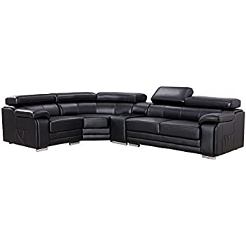 American Eagle Furniture Daphne Collection Modern Top Grain Leather Sectional Sofa With Chaise on Left Adjustable Headrests, Black