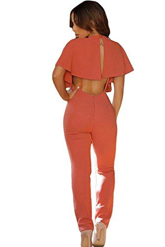 Neue Damen Orange Cape Ärmel Jumpsuit Catsuit Body Club Wear Party Wear Größe S UK 8