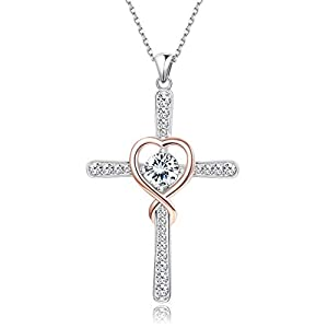 KesaPlan S925 Infinity Love of God Women Heart Swarovski Zircon Cross Pendant Necklace Sterling Silver Zircon Cross…