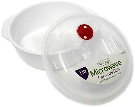 Cacerola redonda de plástico para microondas, 1 litro, con tapa ...